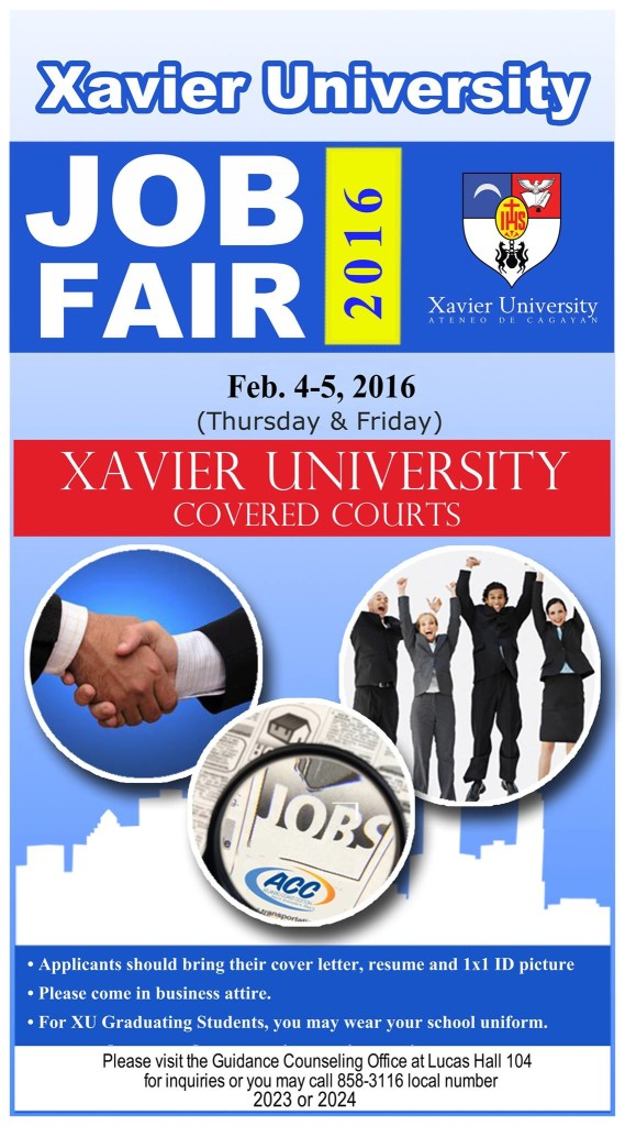 The xavier university job fair 2016 your for Should you bring a cover letter to a job fair